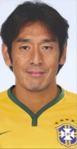Japanese Referee Yuichi Nishimura wearing the coveted Brazil jersey
